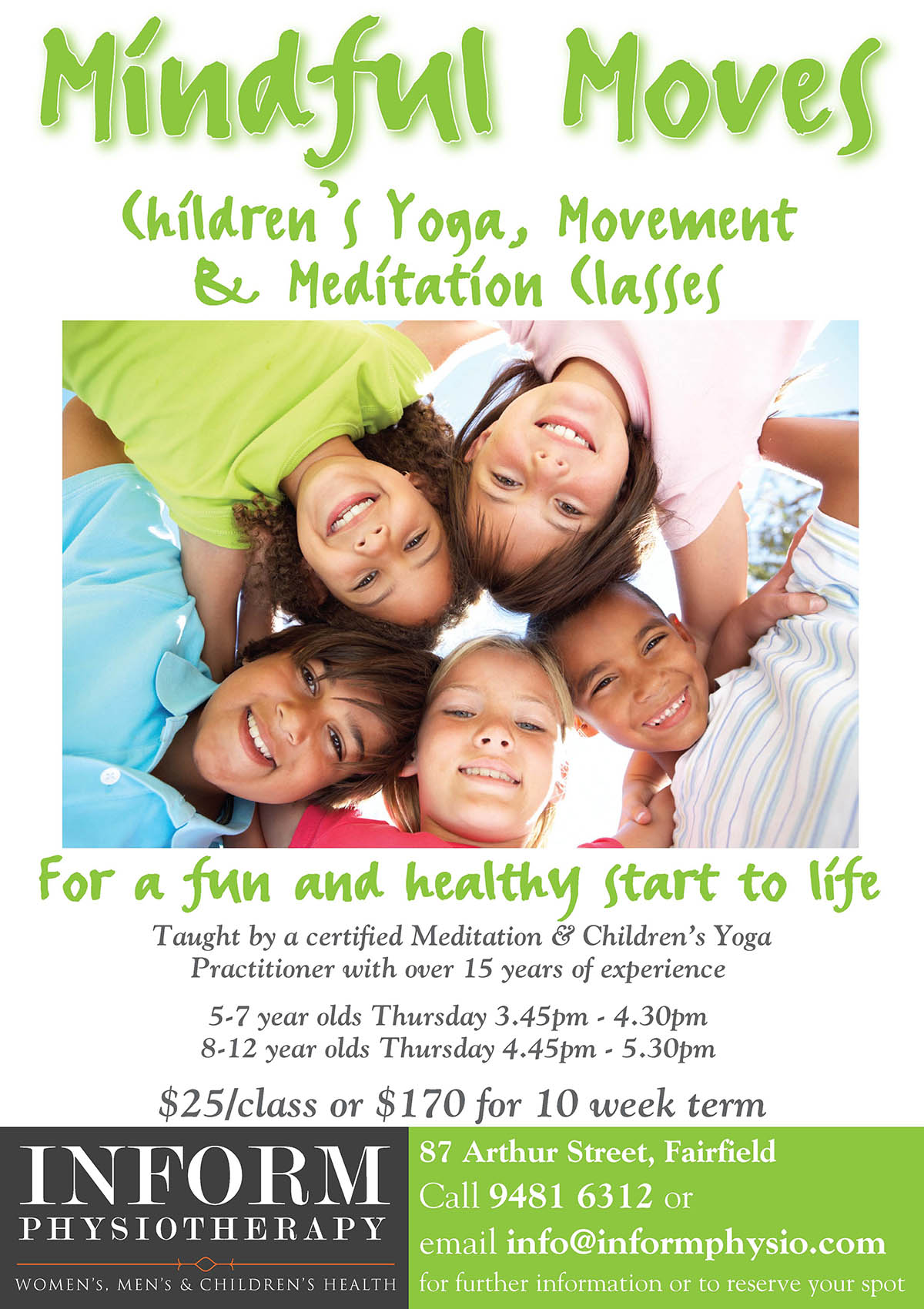 Mindful Moves – Children's Yoga, Movement & Meditation Classes Term 4! - image Mindful-Moves-Childrens-Yoga-A5-size on https://www.informphysio.com